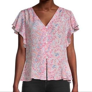 Nanette Lepore Paisley Button Down Ruffle Top Med